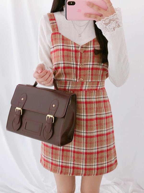 Tartan check bustier skirt set
