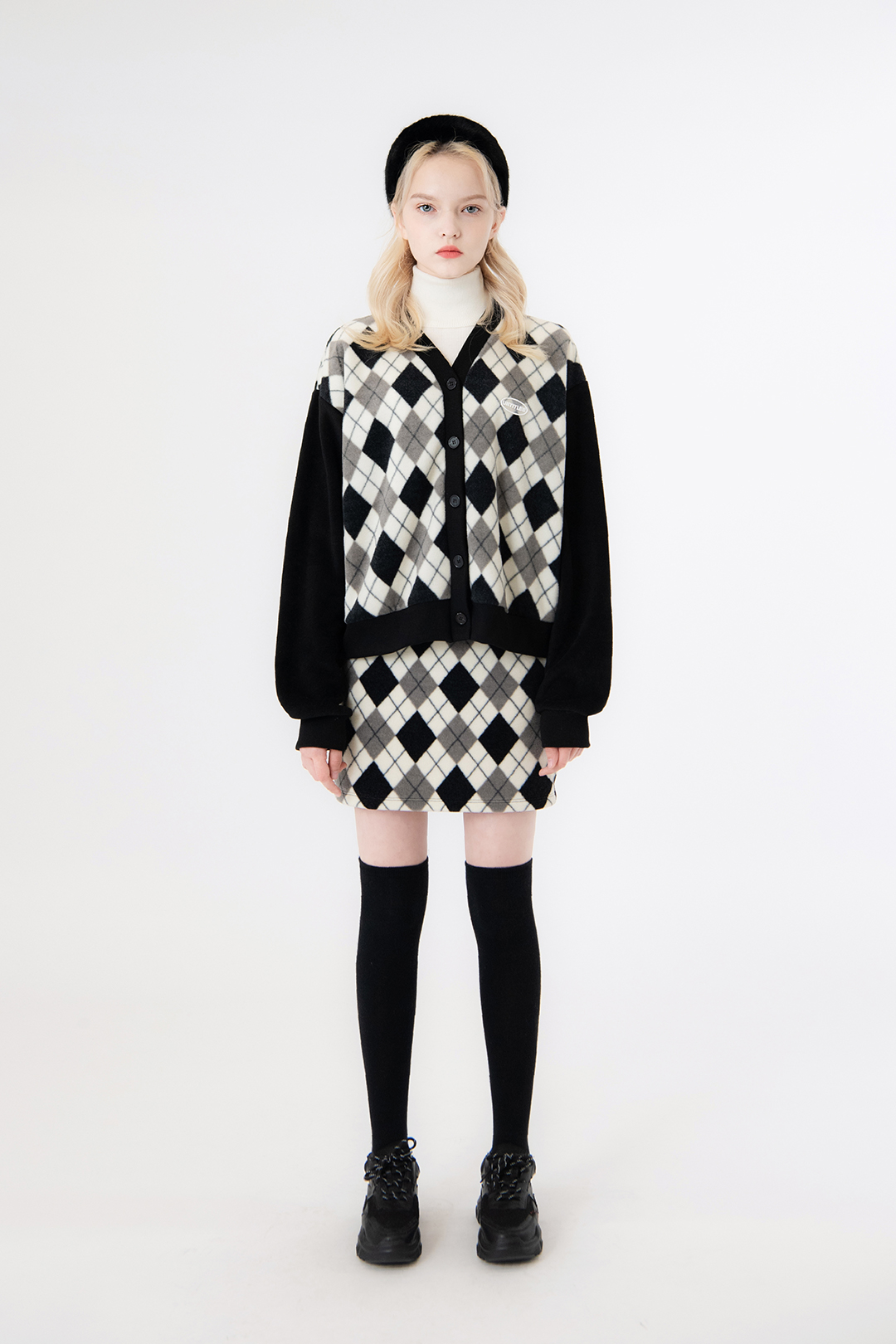 Fleece Argyle Skirt