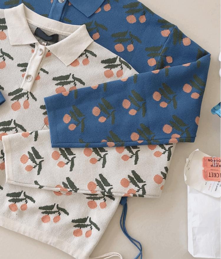 Cherry Pattern Drawstring Hem Knit Top