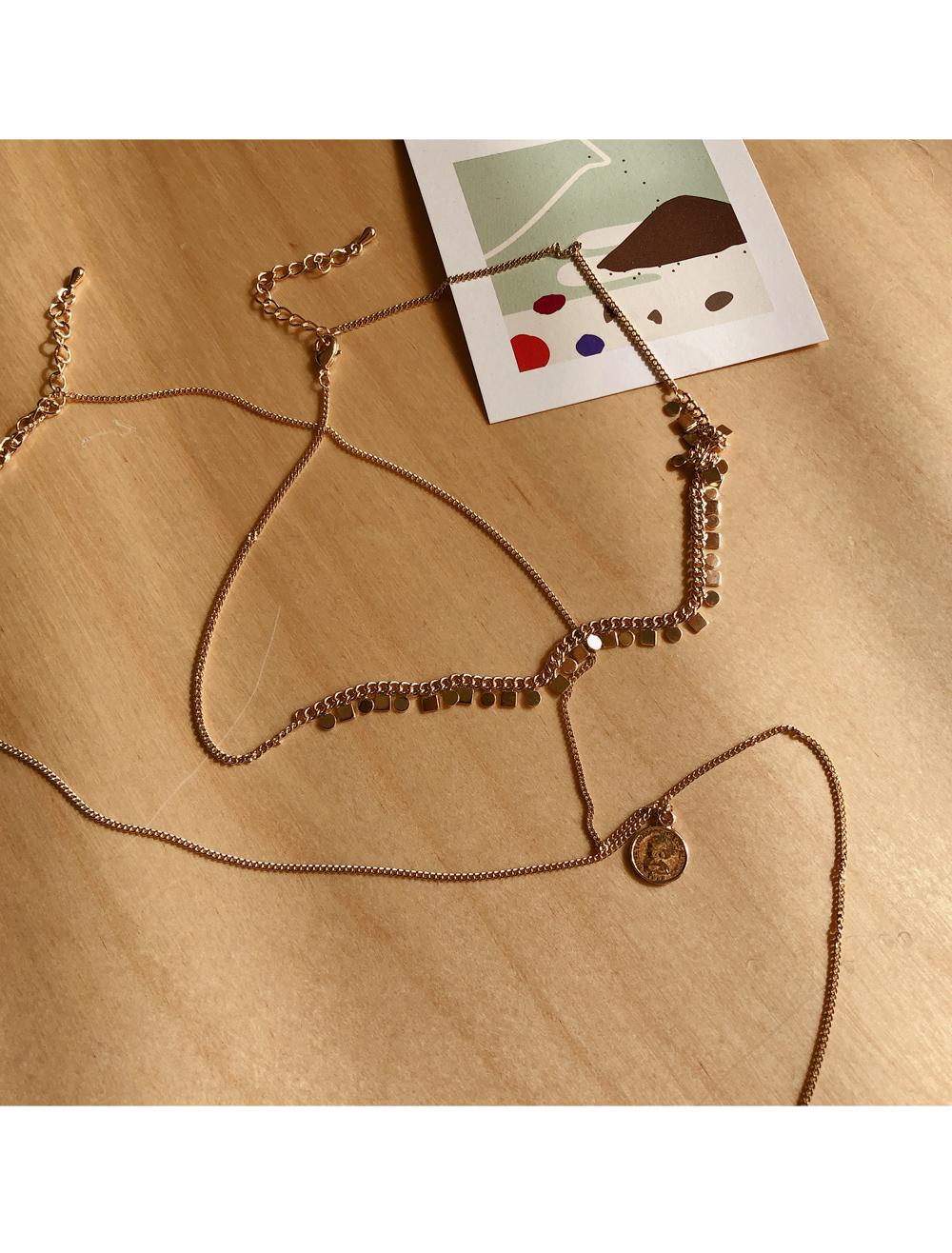 Point romantic gold necklace 2 set