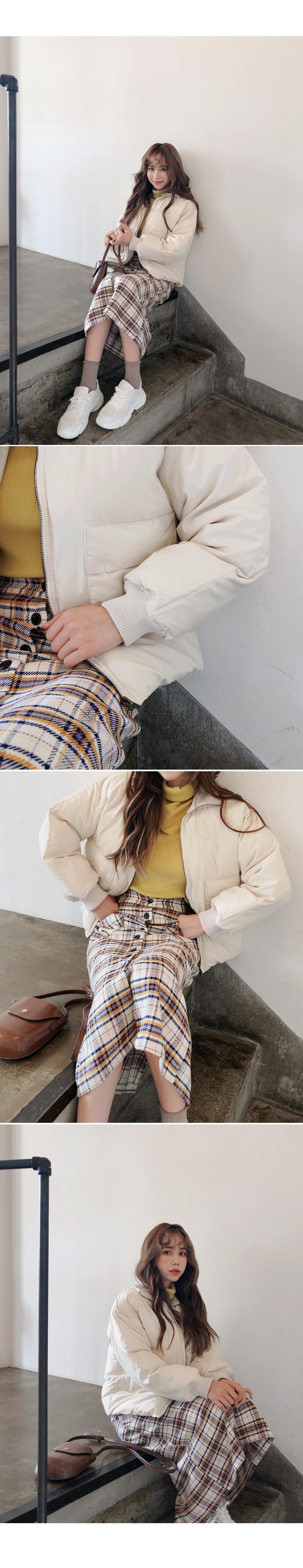 Pocket check long skirt