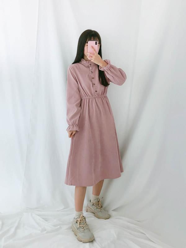 Mini Wavy Neck Golden Dress