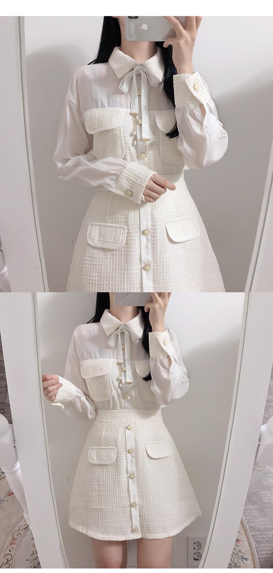 Bling tweedblouse + banding skirt set