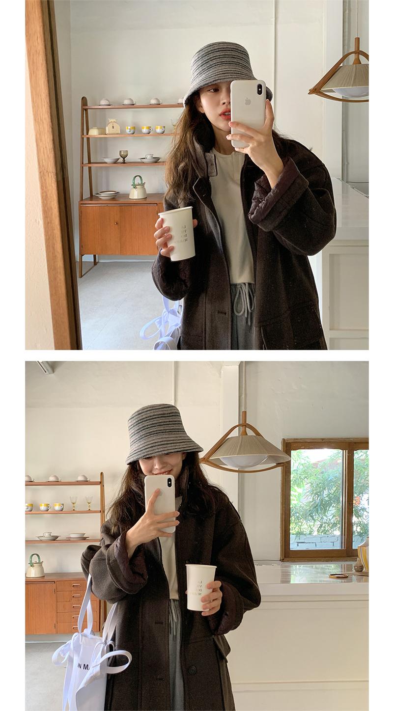 Line wool bucket hat_J