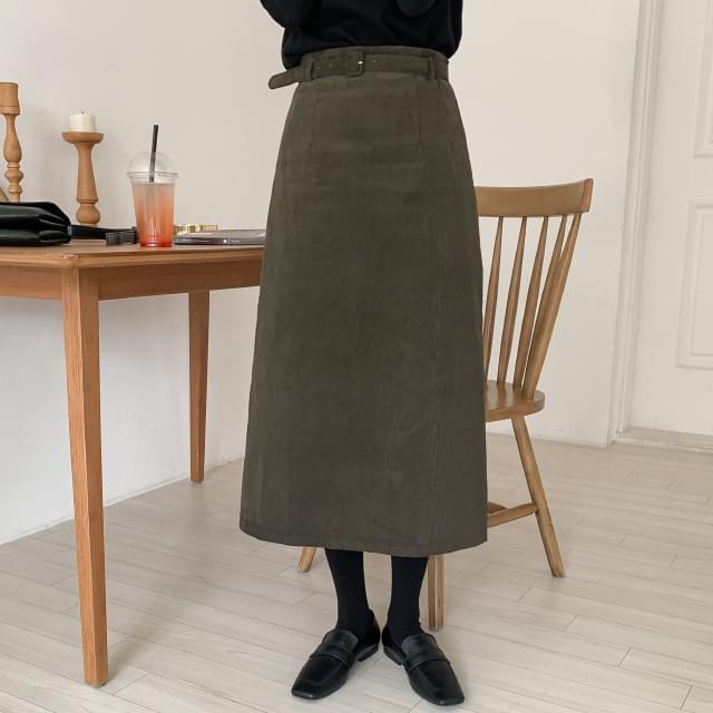 Belt Set Corduroy Skirt-sk