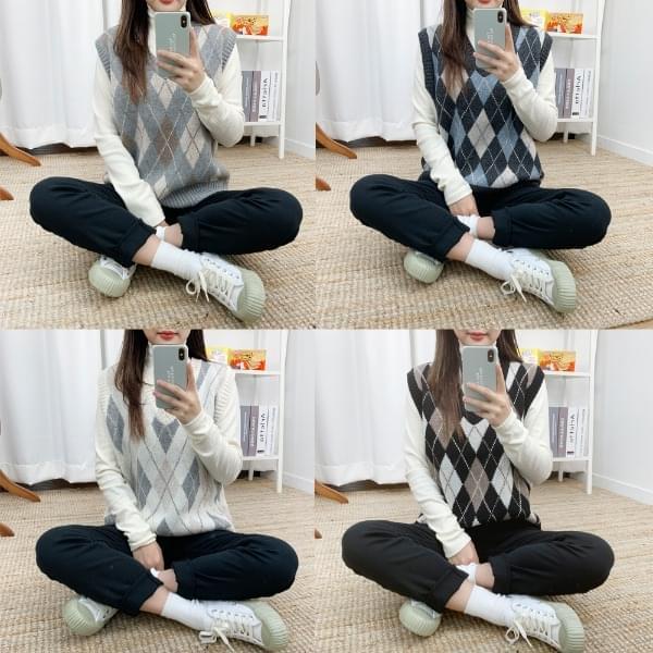 ☆ Nojinjin special price ☆ Lamb diamond knit vest 開襟衫 & 背心