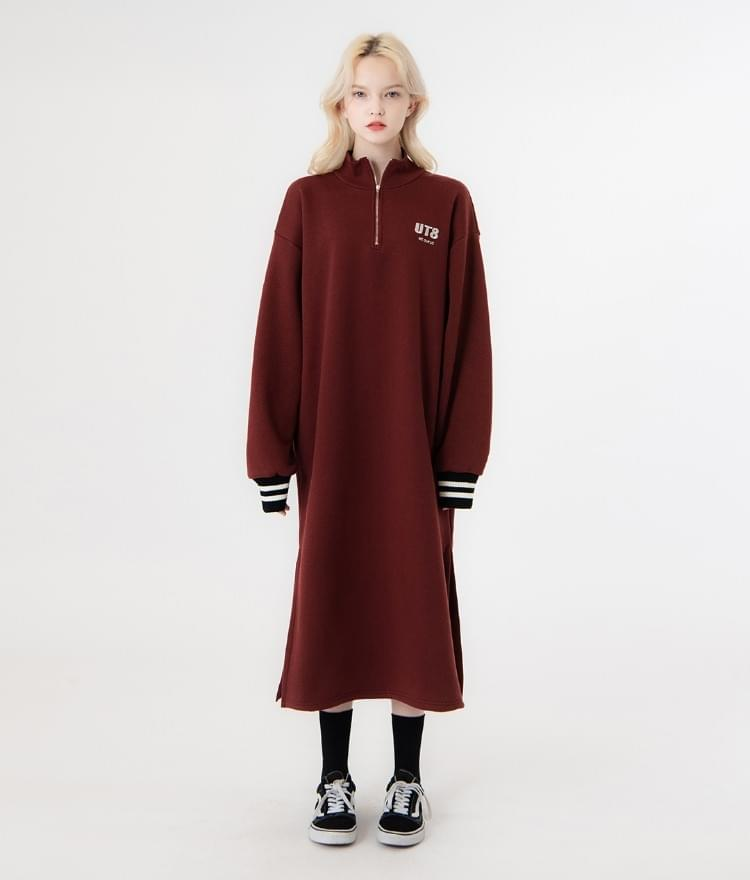 UNTITLE8Wine-Colored Quarter Zip Loose Fit Dress