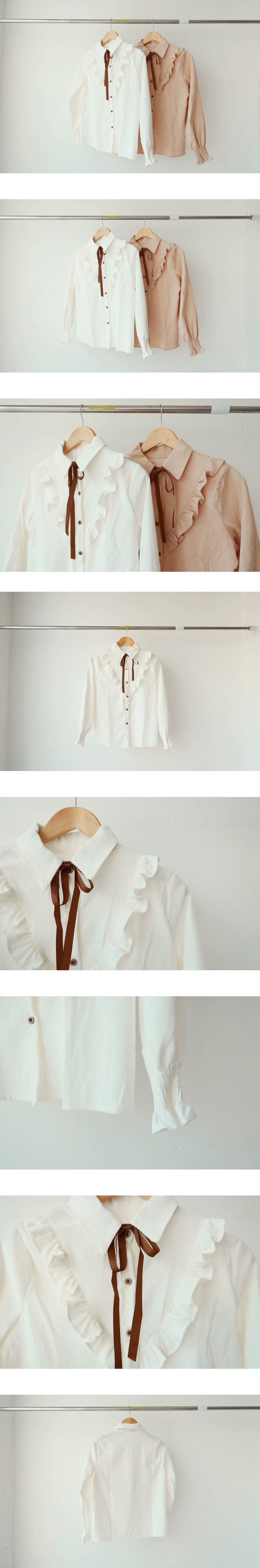 Goldene V-frilled blouse