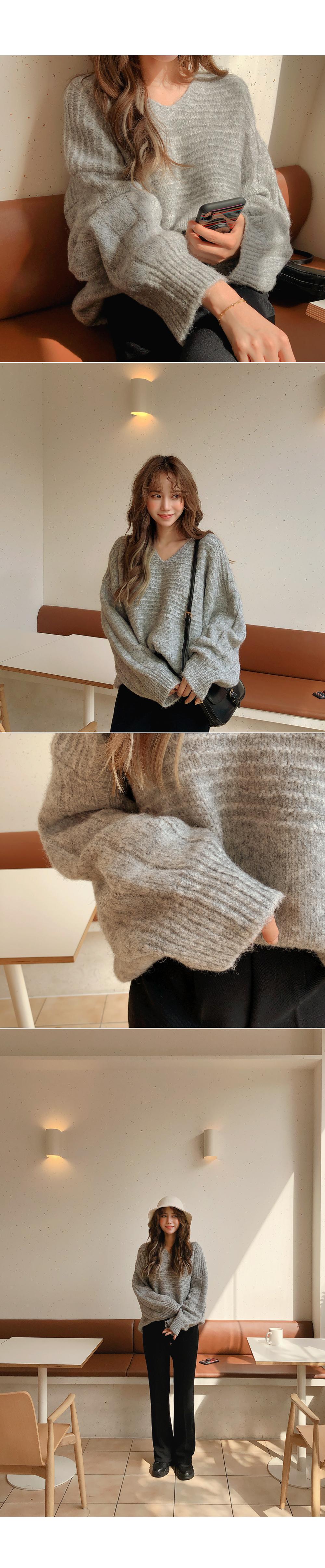 V neck gray knit
