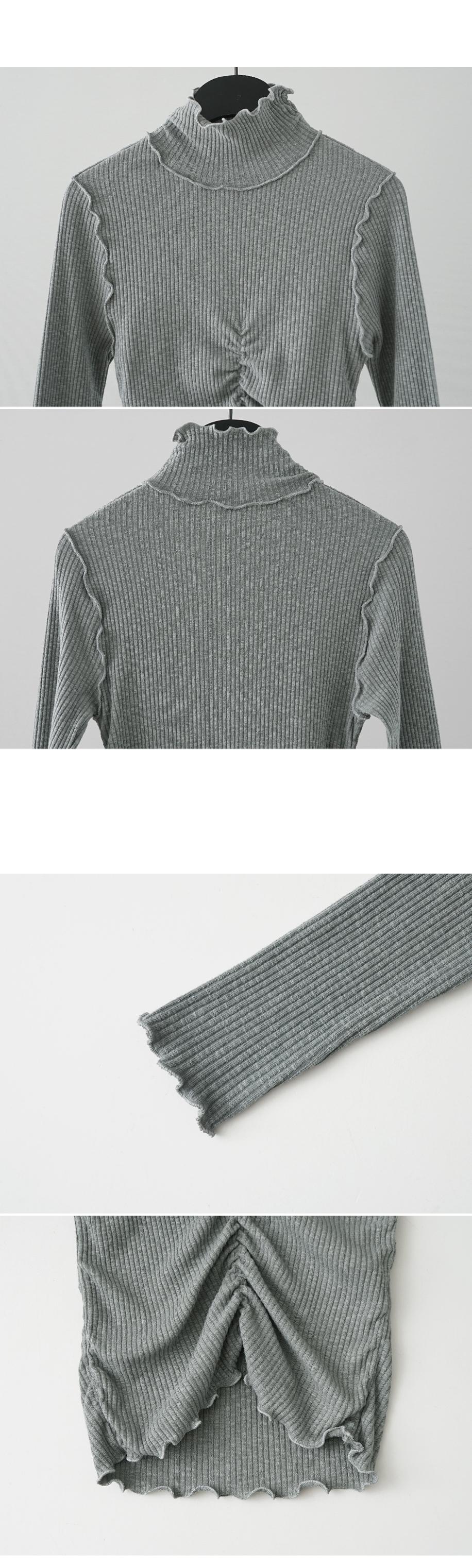 wave line shirring half-neck top