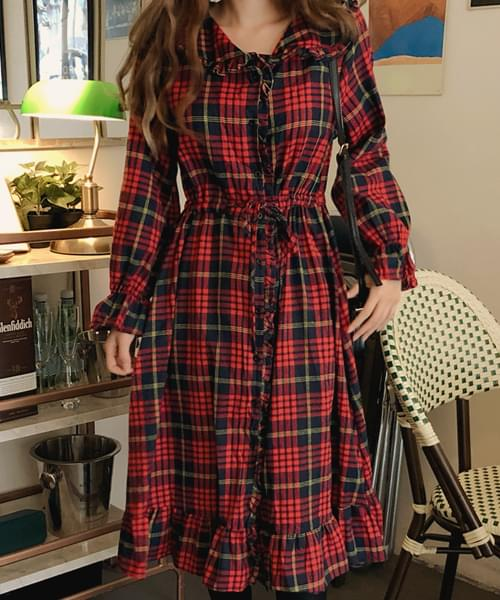 Tartan frill check red dress