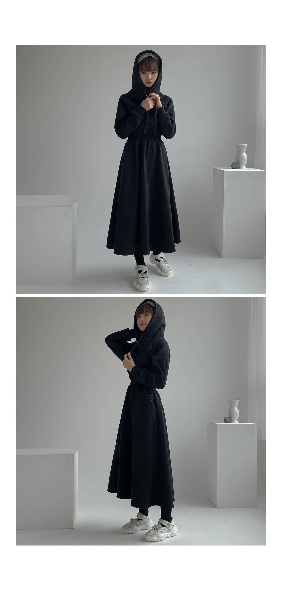 Brushed Sandy Hooded Long Dress