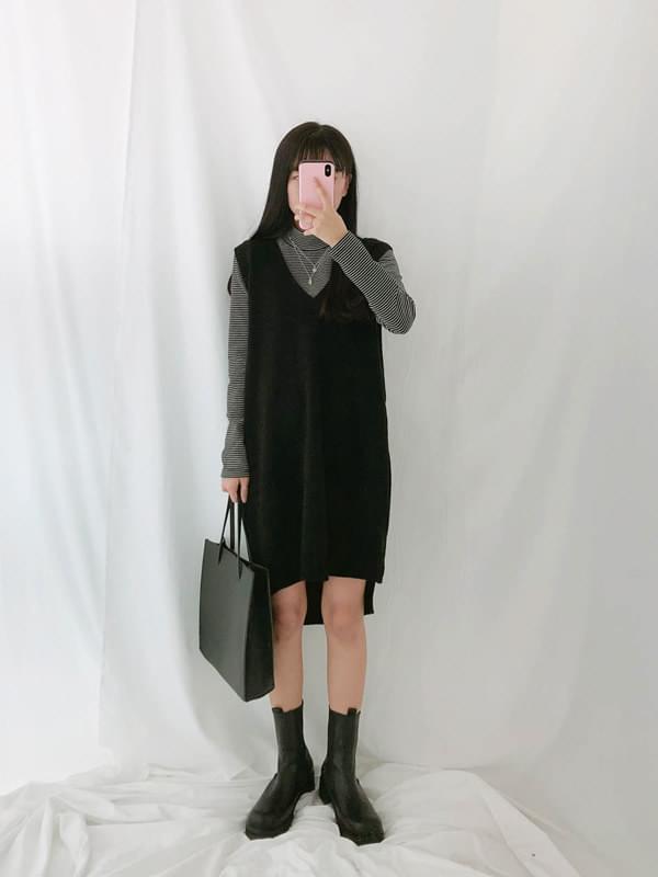 V neck vest knit dress 套裝