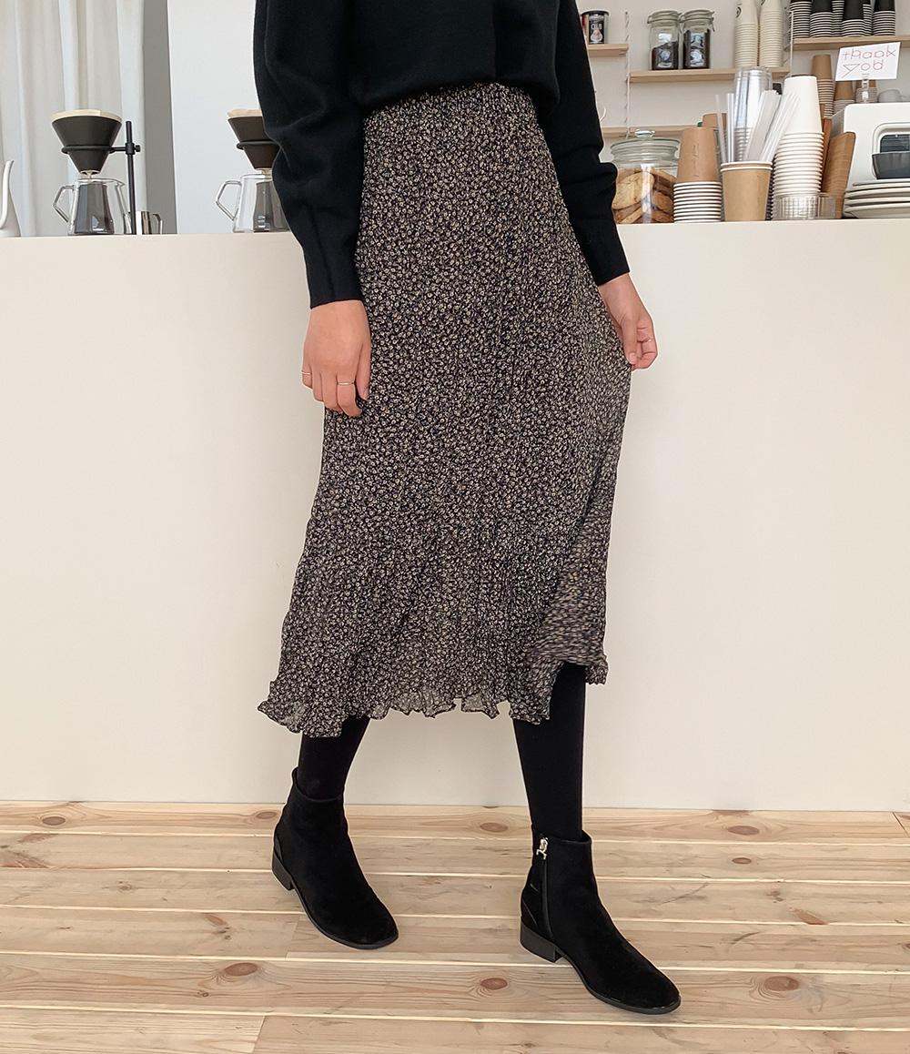 Flower wrinkle long skirt