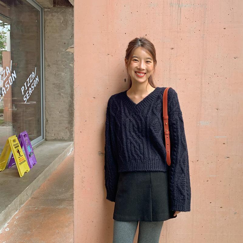 Coaling v-neck wool knit_E (size : free)