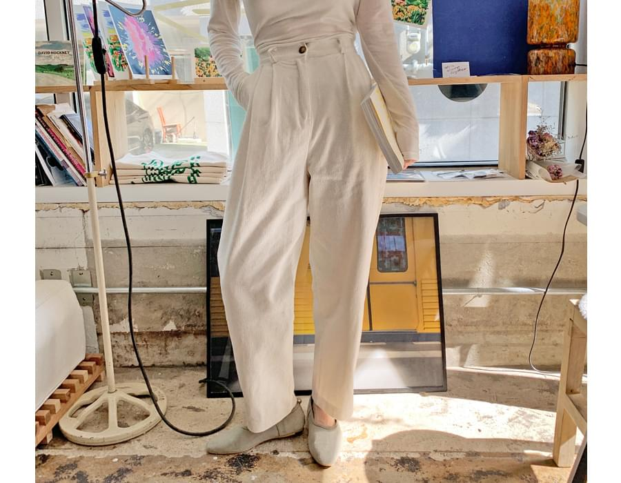 Record corduroy pin-tuck pants_E (size : free)