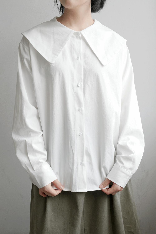 sailor collar cotton blouse