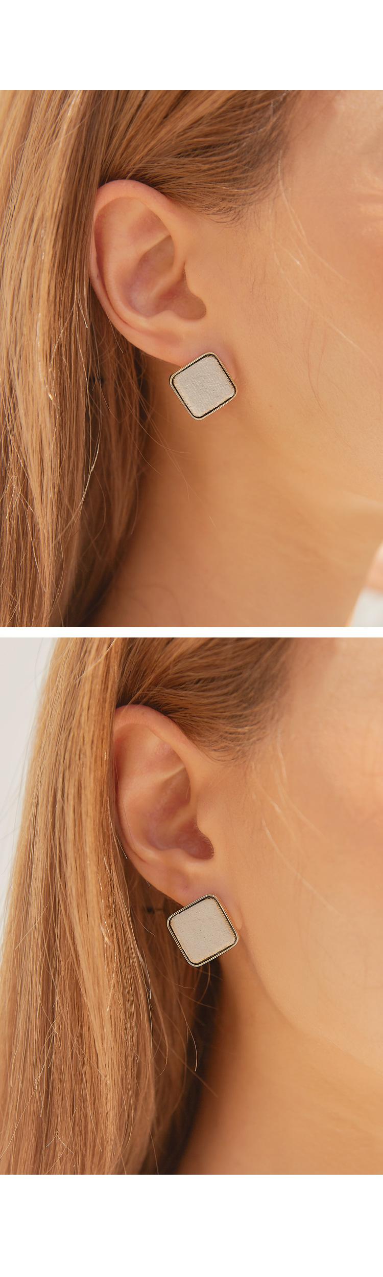 GRON SQUARE VELVET EARRING