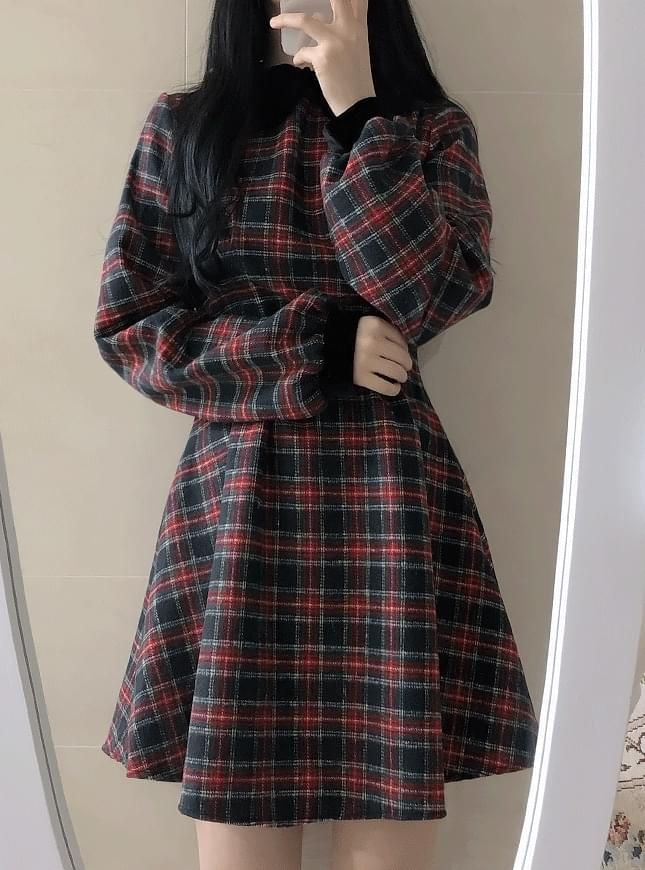 Robin velvet check pin tuck 洋裝