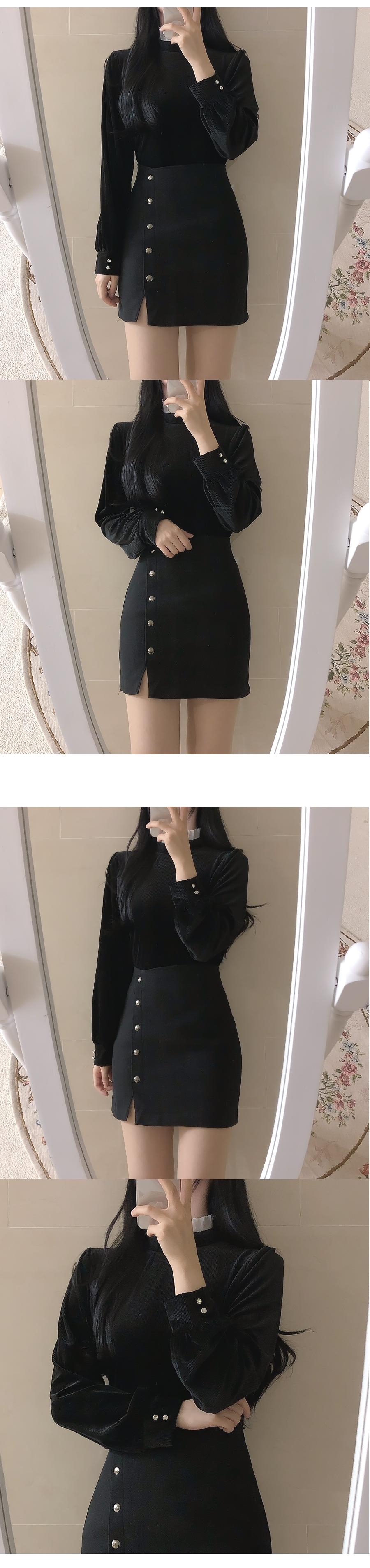 Silver button trim skirt