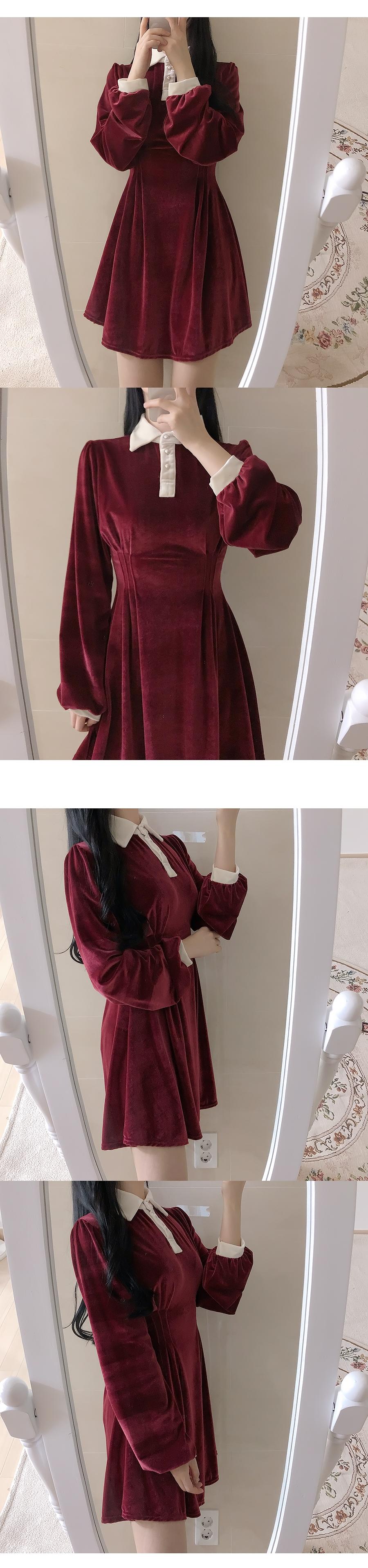 Honey Velvet Collar Dress