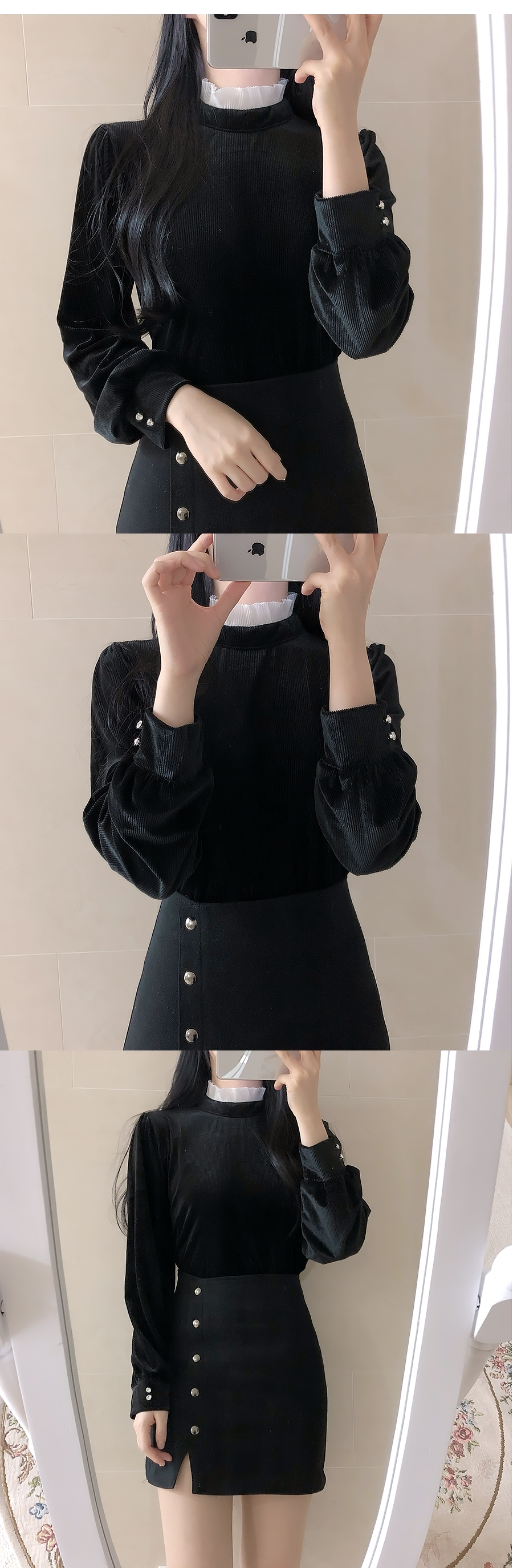 Inu color ruffle velvet blouse