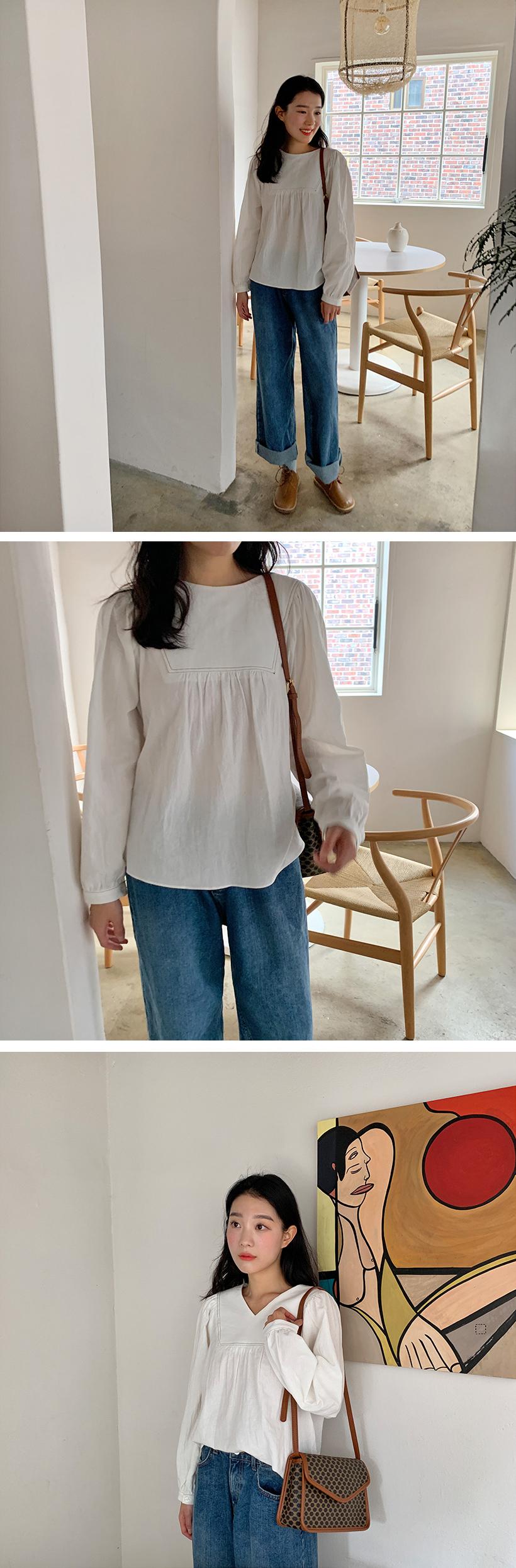 Valley stitch shirring blouse_Y