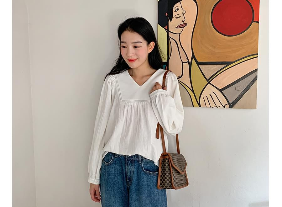 Valley stitch shirring blouse_Y 襯衫
