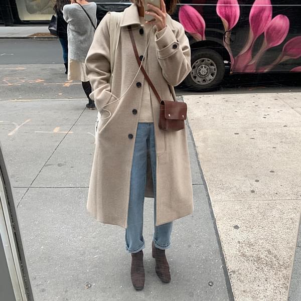 Hidden button wool collar coat