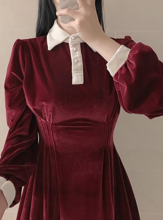 Honey Velvet Collar Dress 洋裝