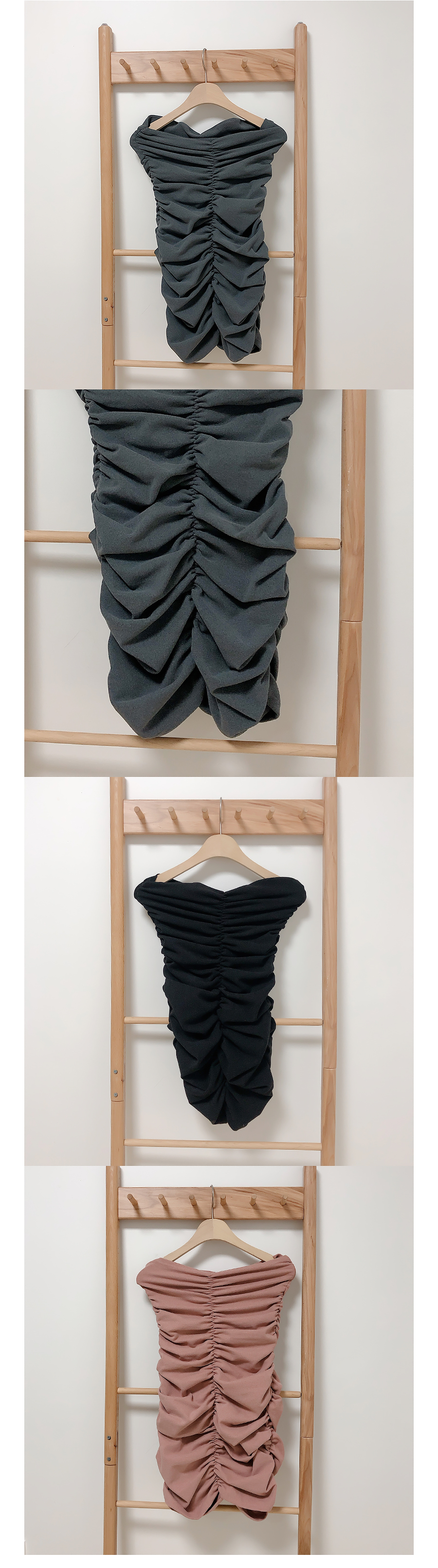 Suede shirring tube top ops