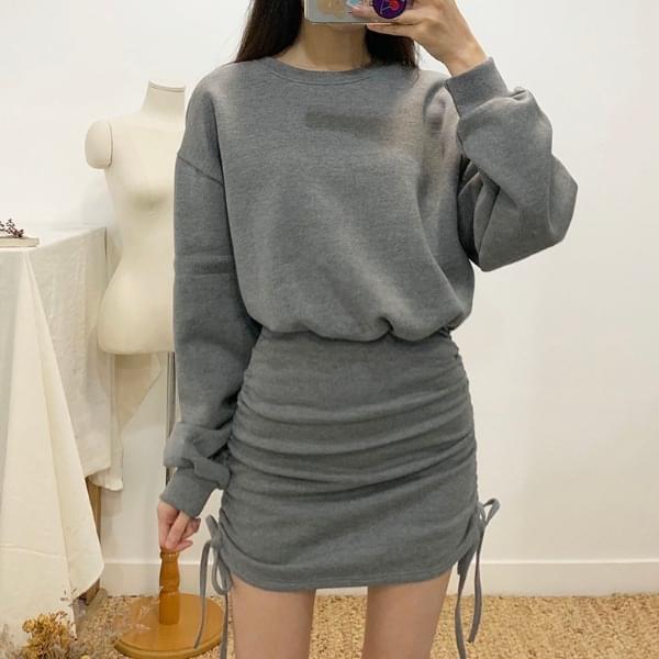 K's shirring brushed mini dress