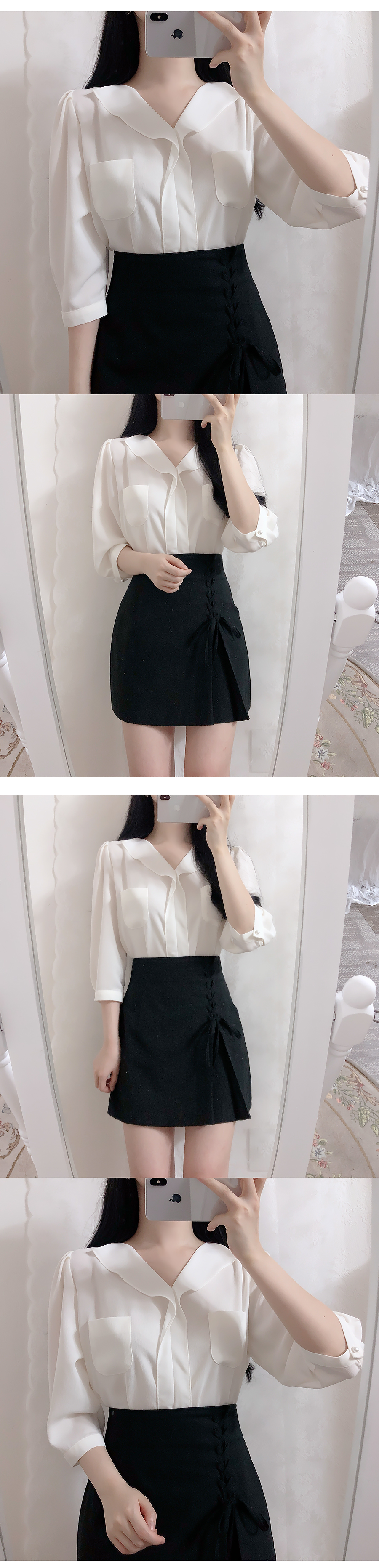 Two-pocket ruffle blouse