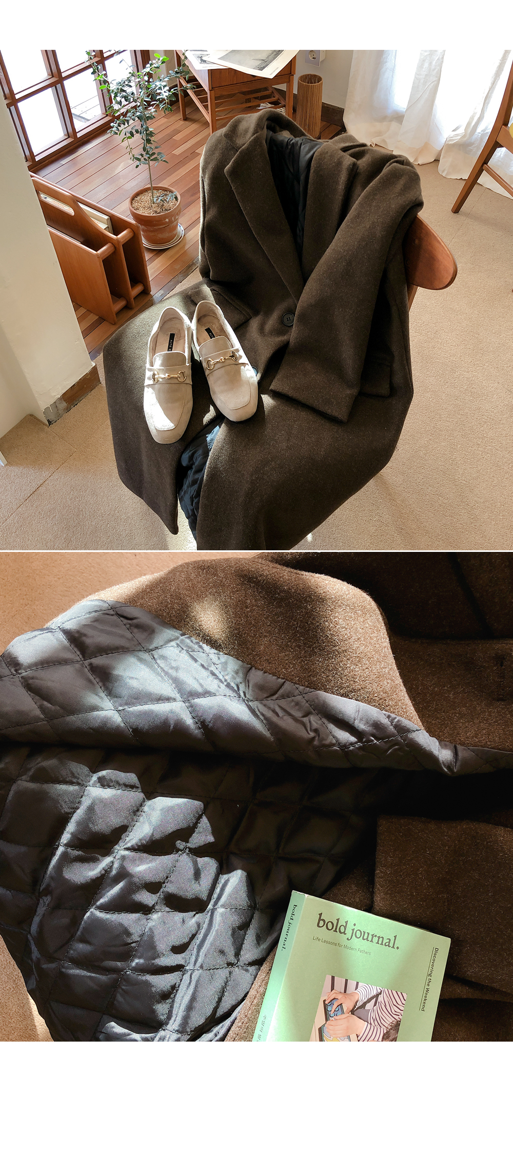 Warm chocolate lining quilted coat