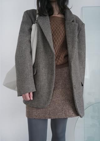 韓國空運 - over-fit herringbone wool jacket 夾克外套