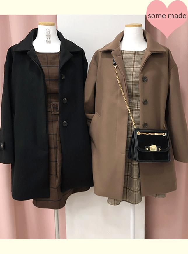 Self-made, same day delivery ♥ Cocoa collar snap coat