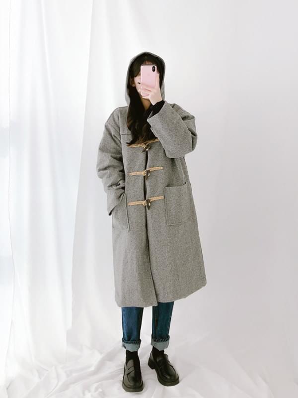 Pop pip hood duffle coat
