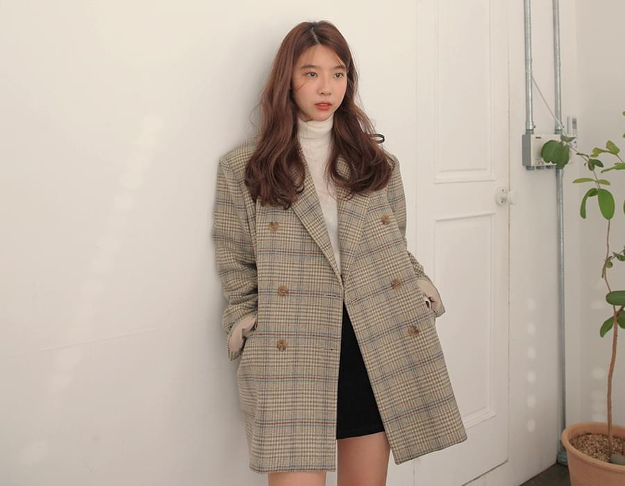Carret wool check jacket_J (size : free)
