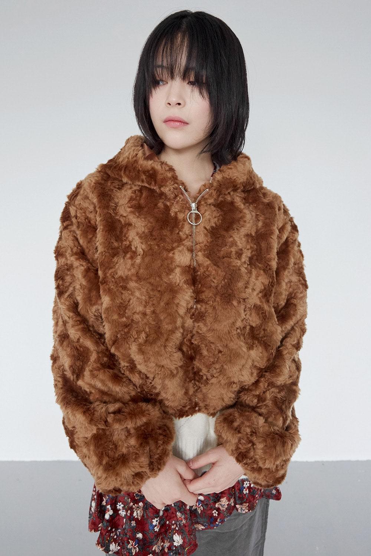 poodle fur hoody jacket