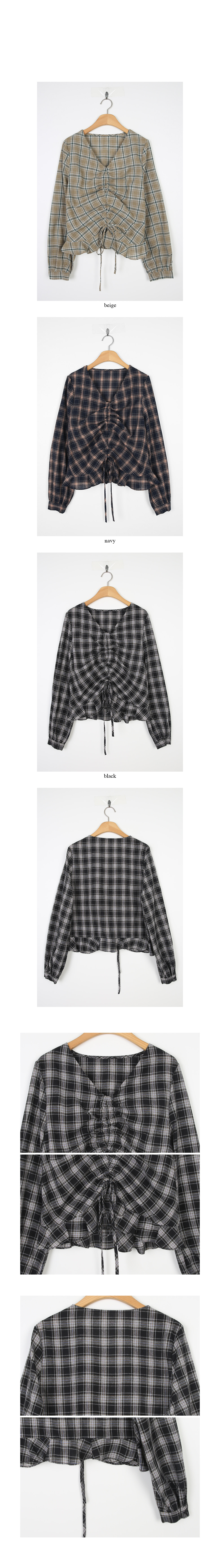 check shirring cozy blouse