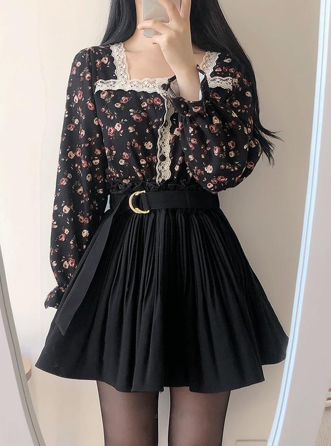Pave D-Ring Pleated Skirt