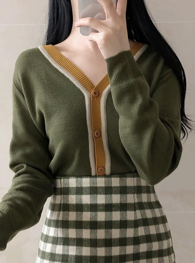 Pori color knit cardigan