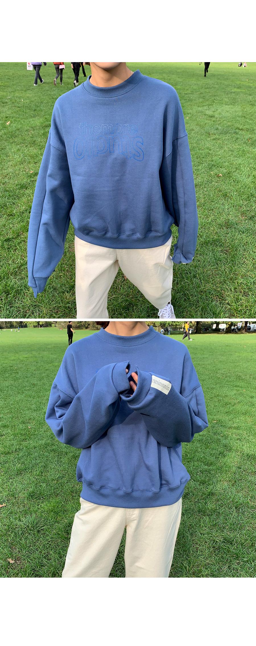 Unbalanced sleeve brushed man-to-man