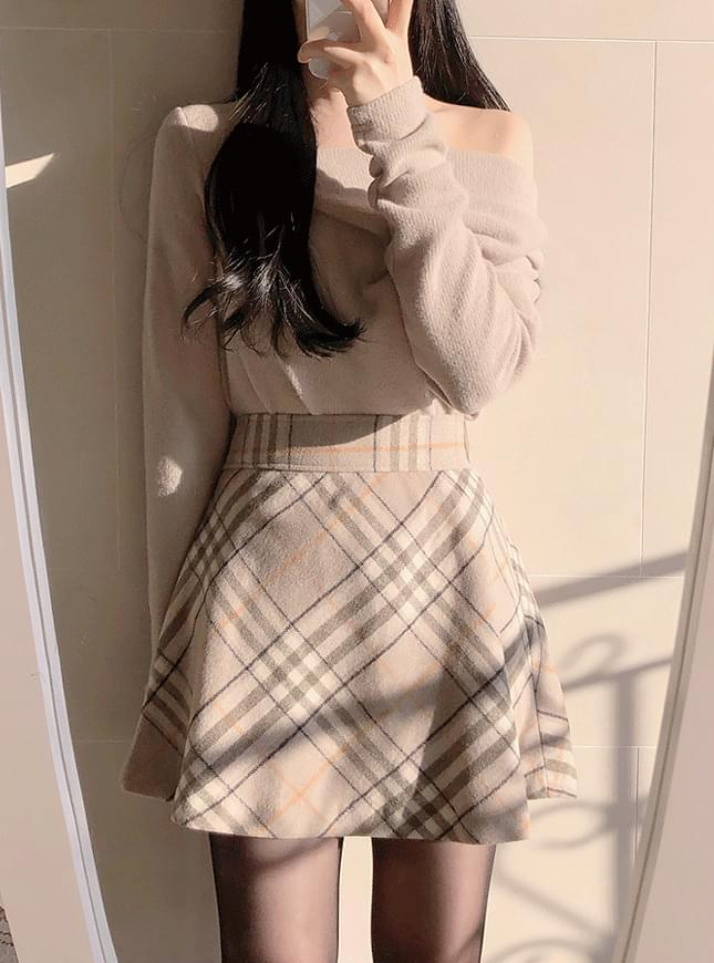 Latte Flare Check Skirt