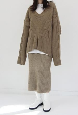 Over deep v knit 針織衫