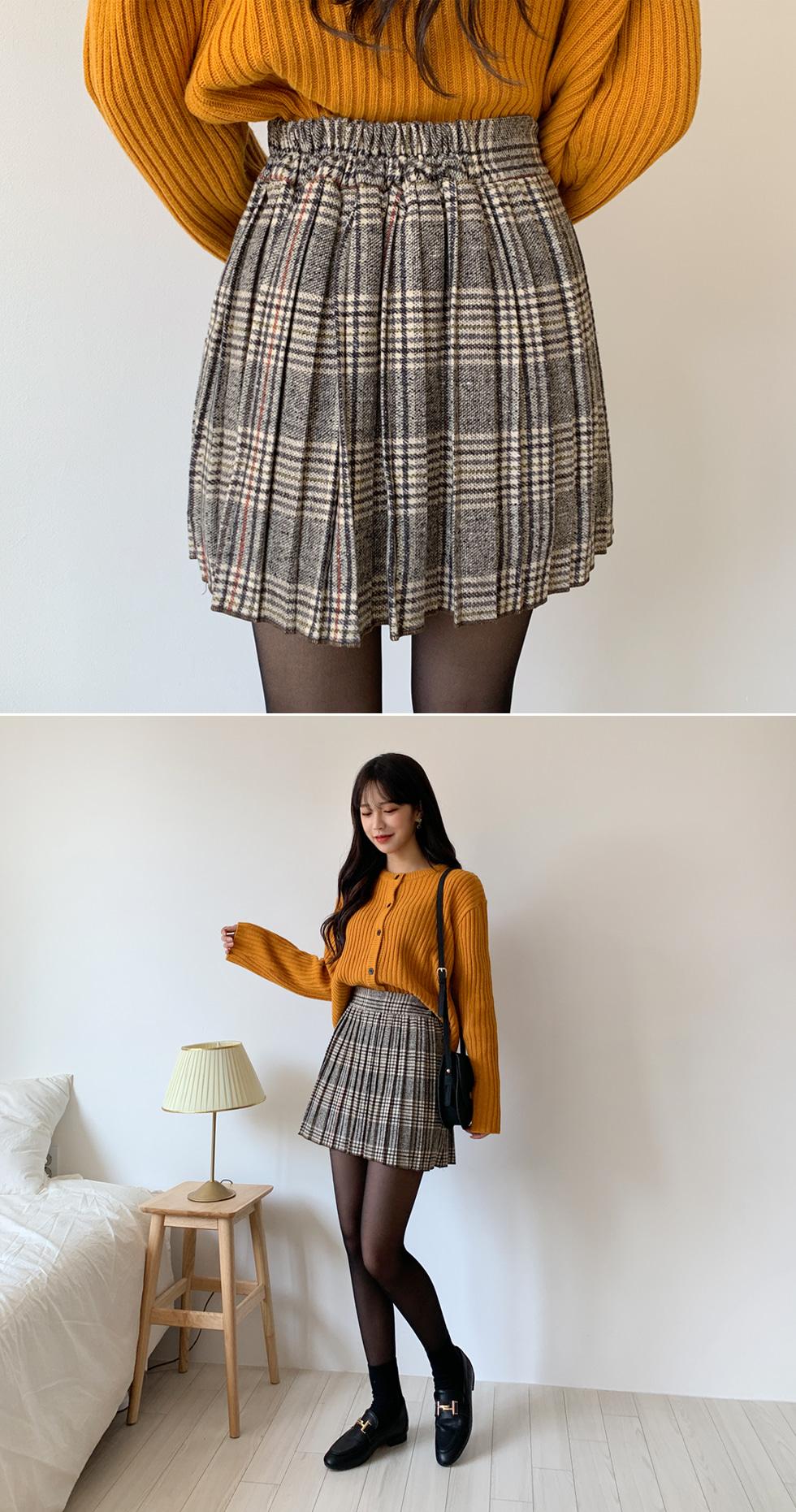 Pretzel check skirt