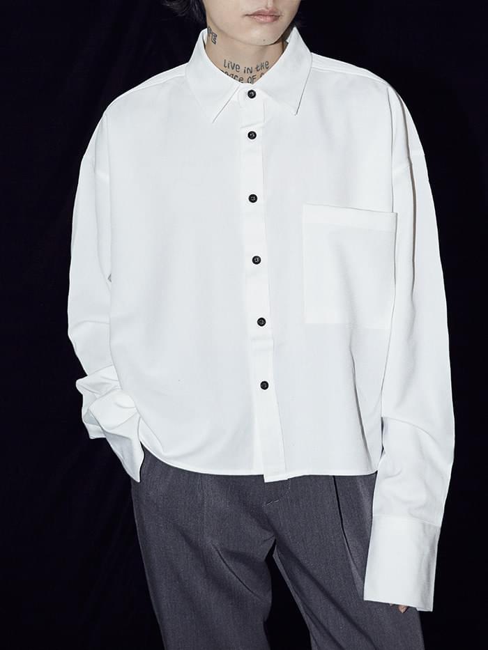 plain pocket crop shirts (4 color) - men