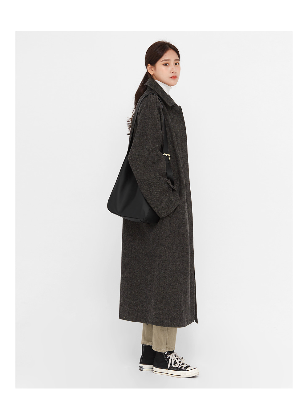 gender wool long buckle coat