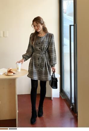 Waist Line Check Dress + Belt SET
