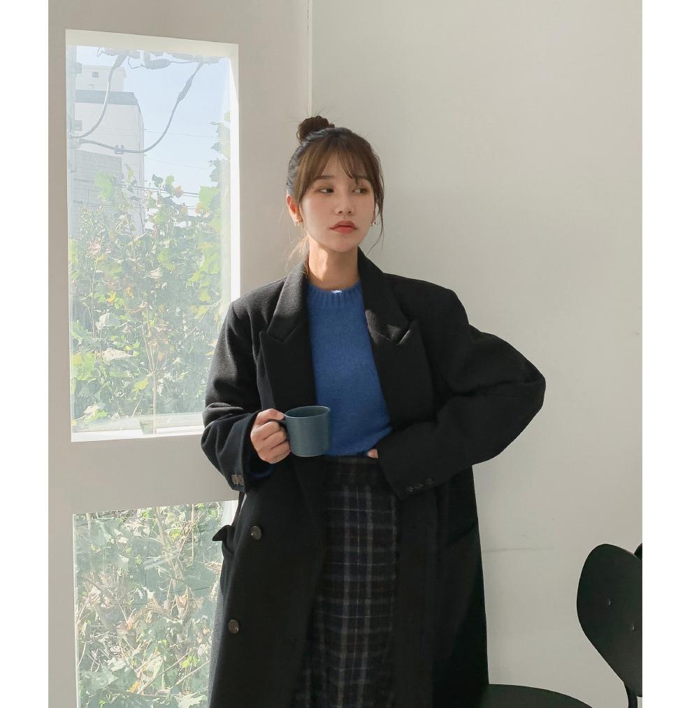 리얼 오버핏 울 더블코트 - ct